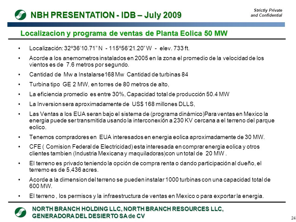 Localizacion y programa de ventas de Planta Eolica 50 MW