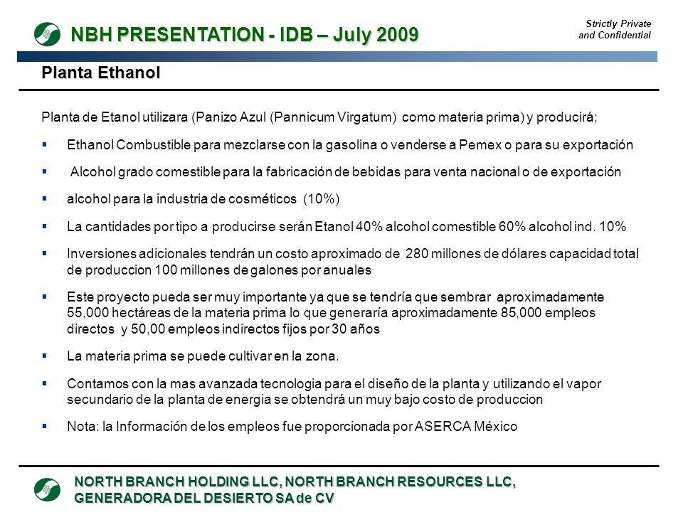 Planta Ethanol Planta de Etanol utilizara (Panizo Azul (Pannicum Virgatum) como materia prima) y producirá;