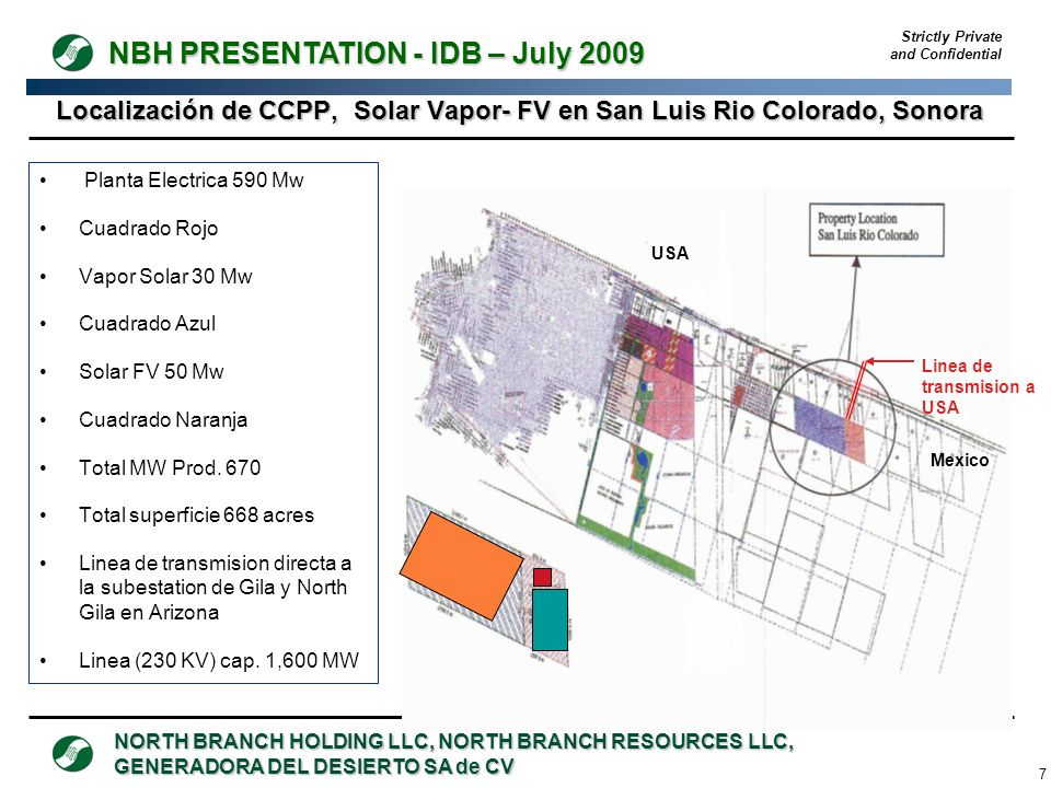 Localización de CCPP, Solar Vapor- FV en San Luis Rio Colorado, Sonora