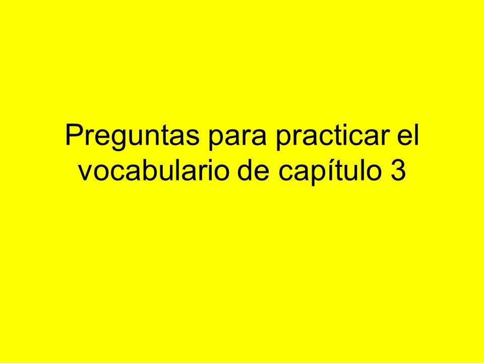 Preguntas para practicar el vocabulario de capítulo 3