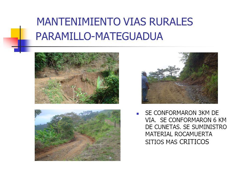 MANTENIMIENTO VIAS RURALES PARAMILLO-MATEGUADUA