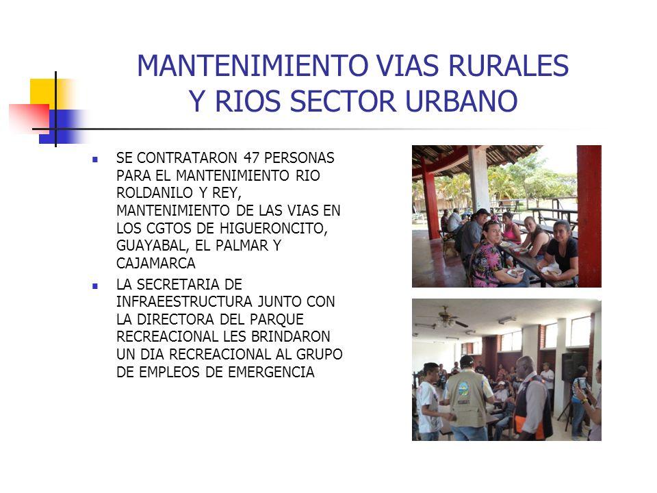 MANTENIMIENTO VIAS RURALES Y RIOS SECTOR URBANO