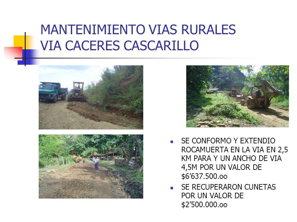 MANTENIMIENTO VIAS RURALES VIA CACERES CASCARILLO