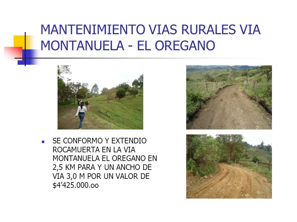 MANTENIMIENTO VIAS RURALES VIA MONTANUELA - EL OREGANO