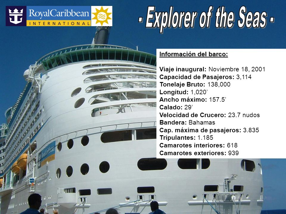 - Explorer of the Seas - Información del barco: