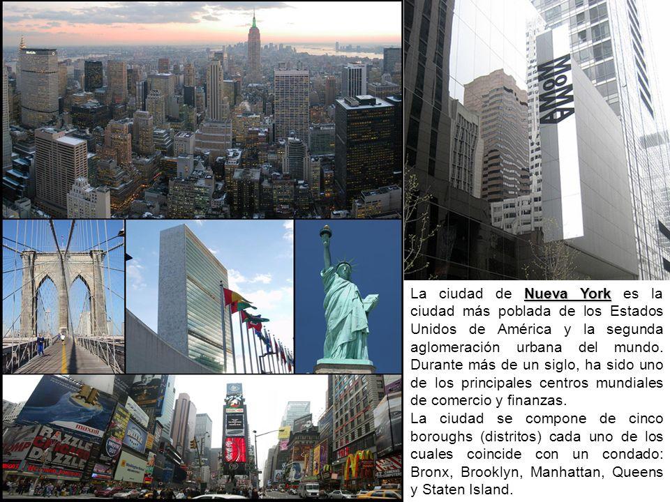 La ciudad de Nueva York es la ciudad más poblada de los Estados Unidos de América y la segunda aglomeración urbana del mundo. Durante más de un siglo, ha sido uno de los principales centros mundiales de comercio y finanzas.