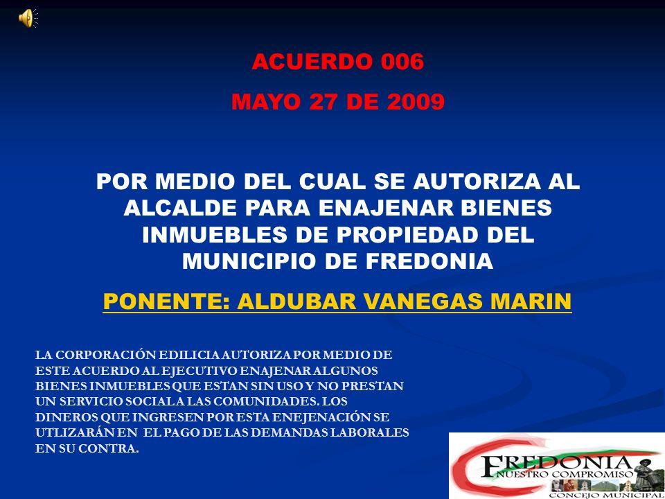 PONENTE: ALDUBAR VANEGAS MARIN