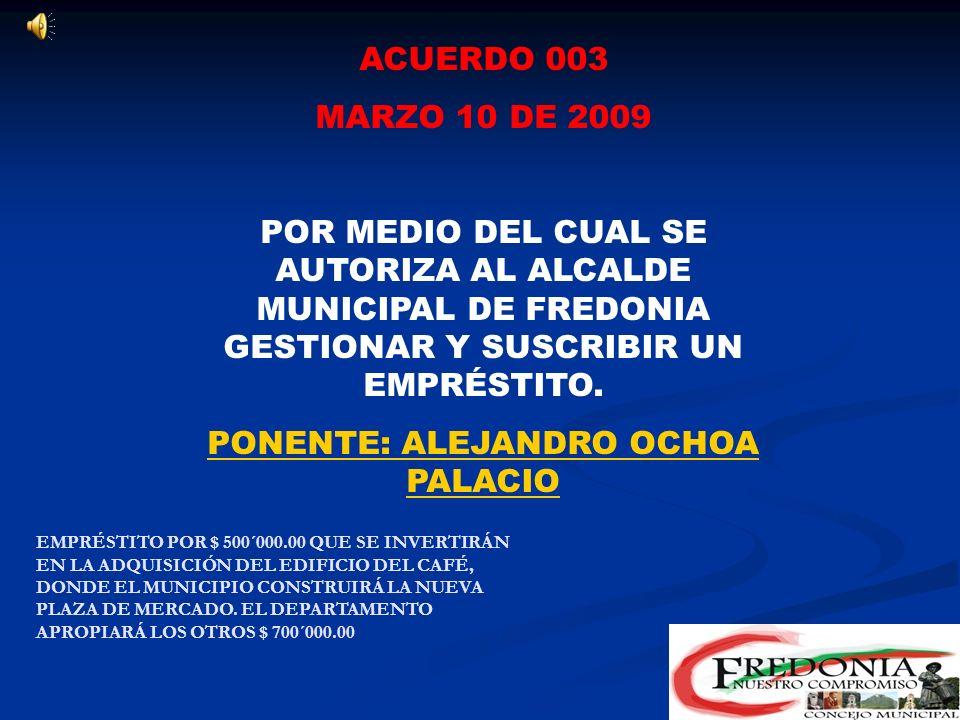 PONENTE: ALEJANDRO OCHOA PALACIO
