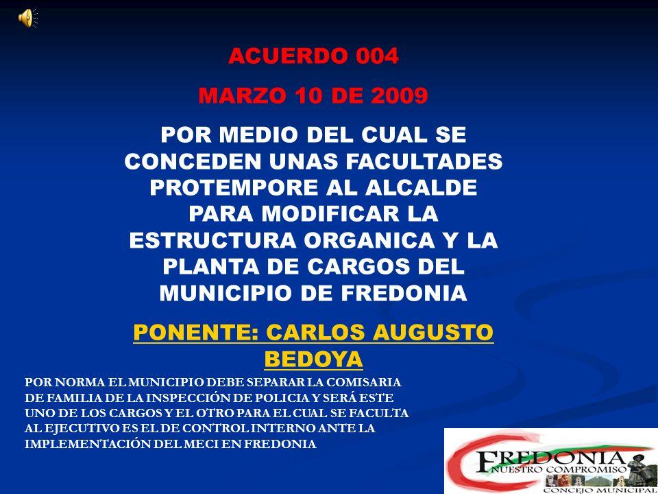 PONENTE: CARLOS AUGUSTO BEDOYA