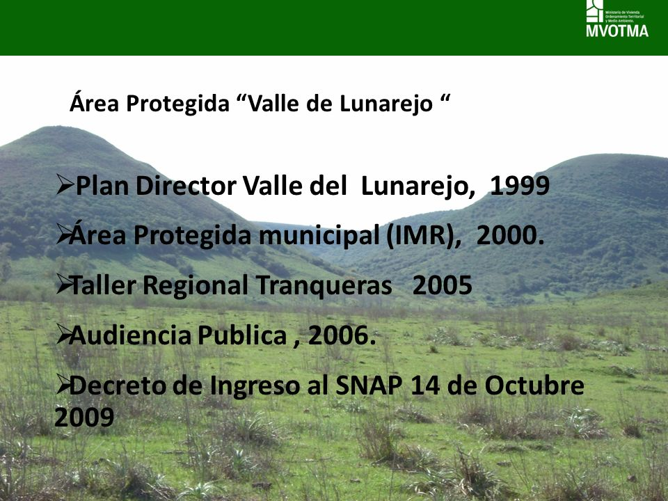 Plan Director Valle del Lunarejo, 1999