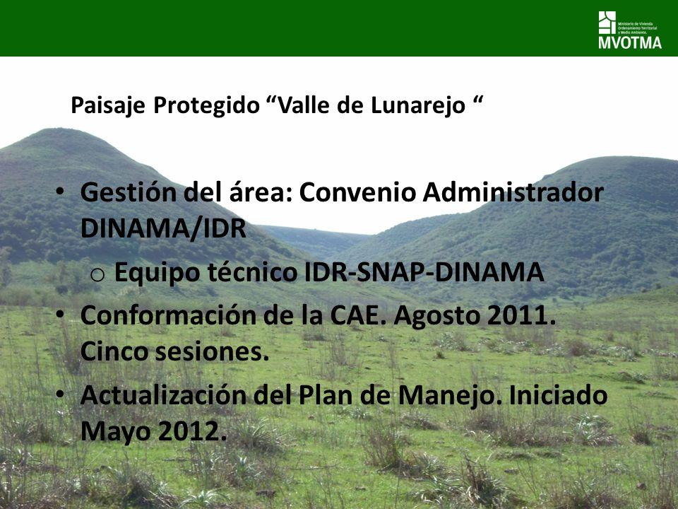 Gestión del área: Convenio Administrador DINAMA/IDR