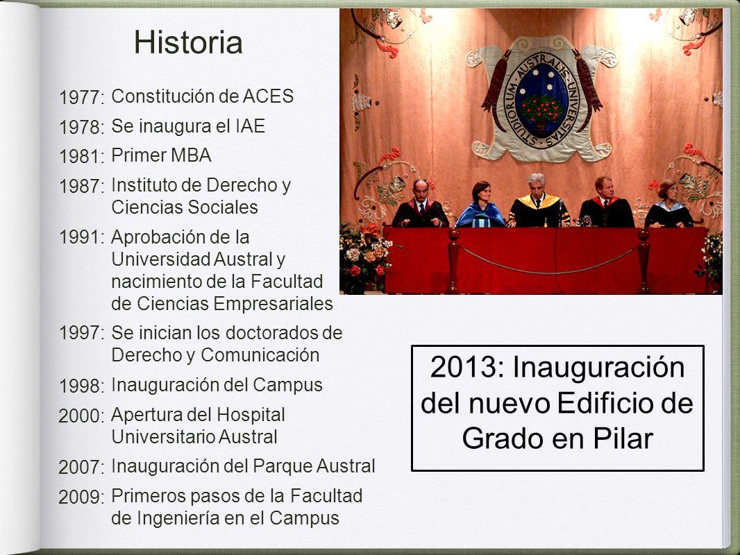 2013: Inauguración del nuevo Edificio de Grado en Pilar