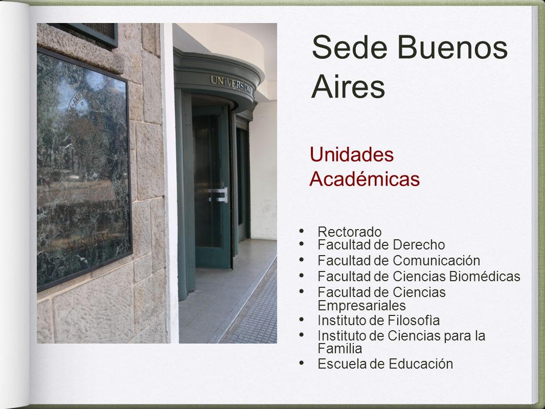 Sede Buenos Aires Unidades Académicas Rectorado Facultad de Derecho