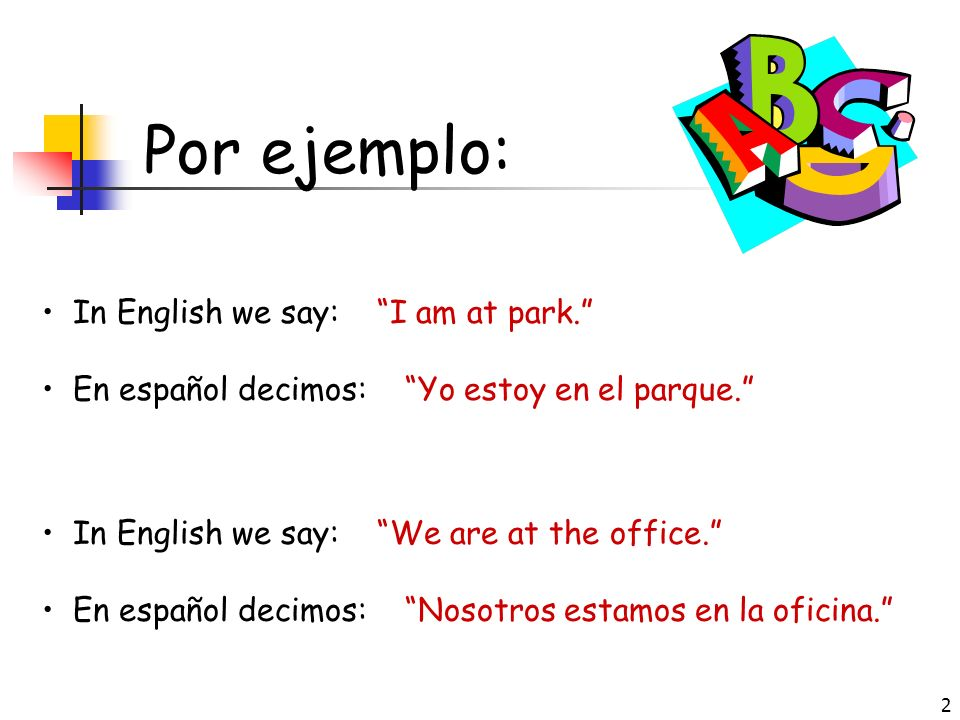 Por ejemplo: In English we say: I am at park.