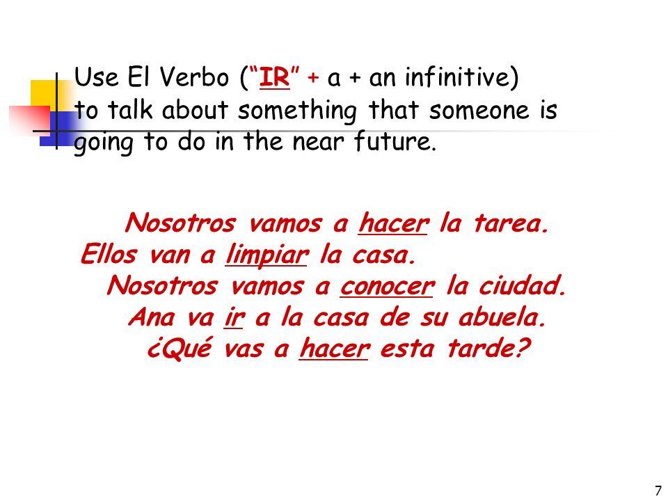 Use El Verbo ( IR + a + an infinitive)