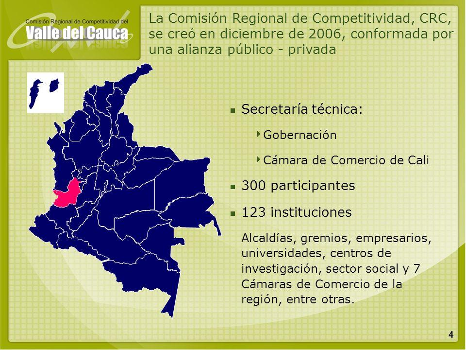 La Comisión Regional de Competitividad, CRC, se creó en diciembre de 2006, conformada por una alianza público - privada