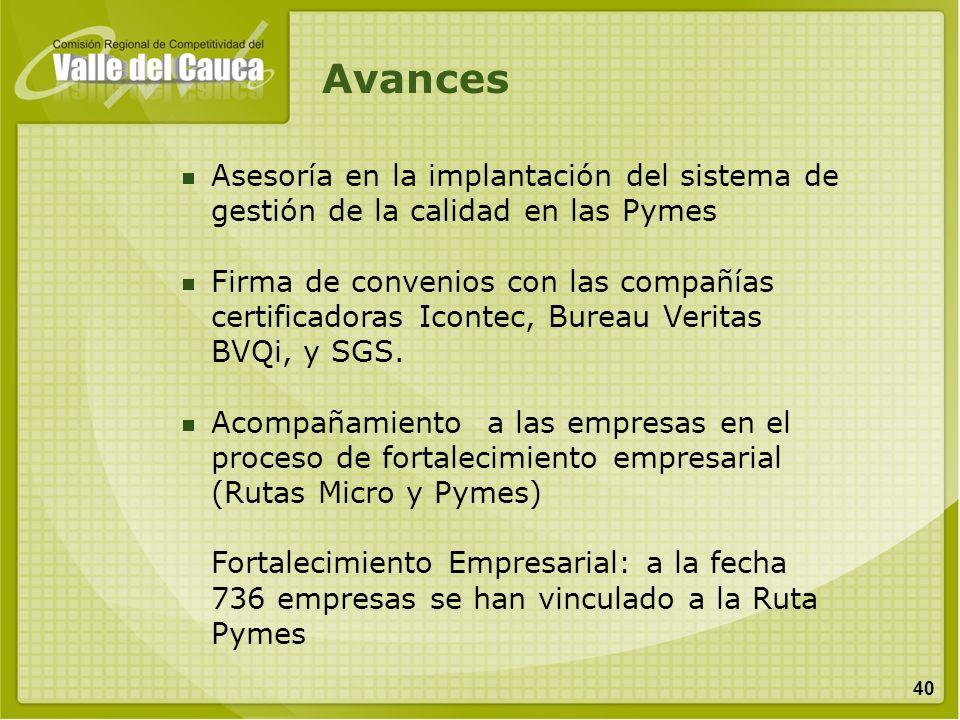 Avances Asesoría en la implantación del sistema de gestión de la calidad en las Pymes.