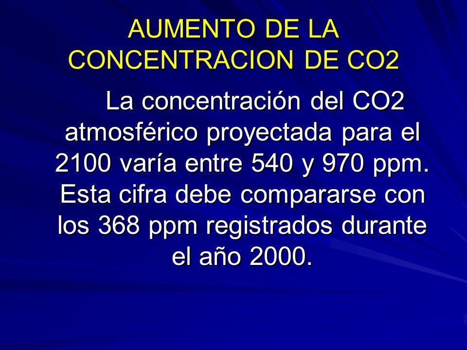 AUMENTO DE LA CONCENTRACION DE CO2