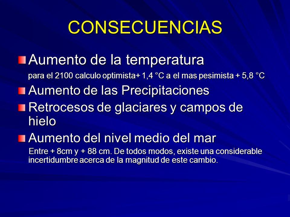 CONSECUENCIAS Aumento de la temperatura Aumento de las Precipitaciones