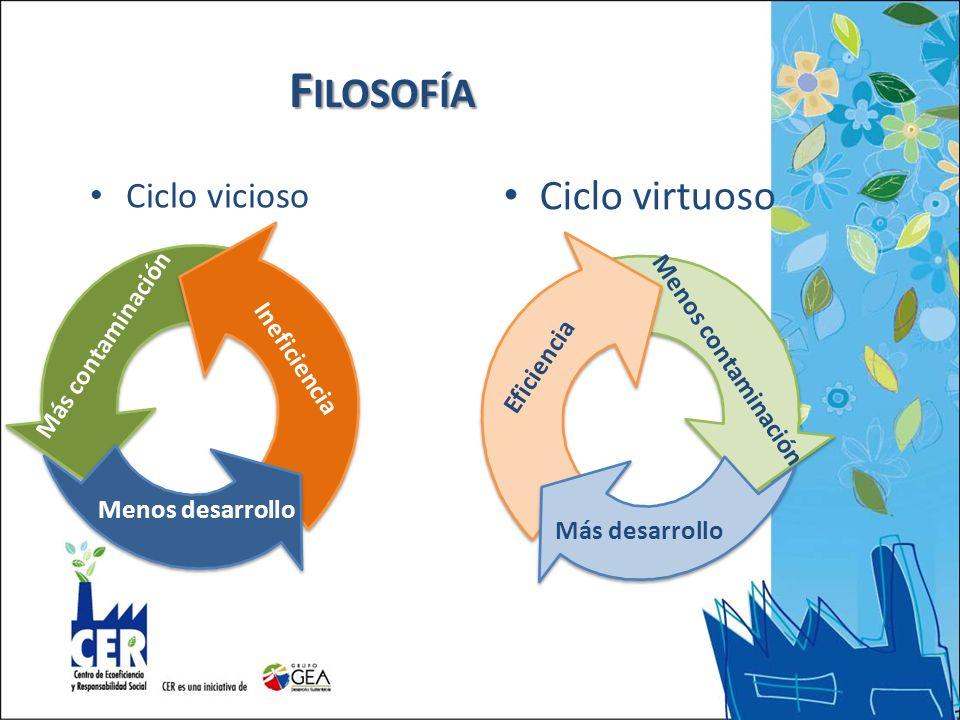Filosofía Ciclo virtuoso Ciclo vicioso Más contaminación