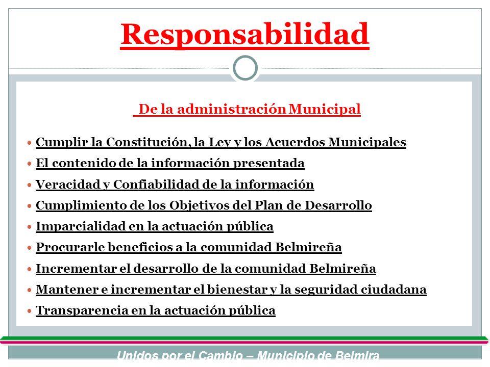 Responsabilidad De la administración Municipal. Cumplir la Constitución, la Ley y los Acuerdos Municipales.
