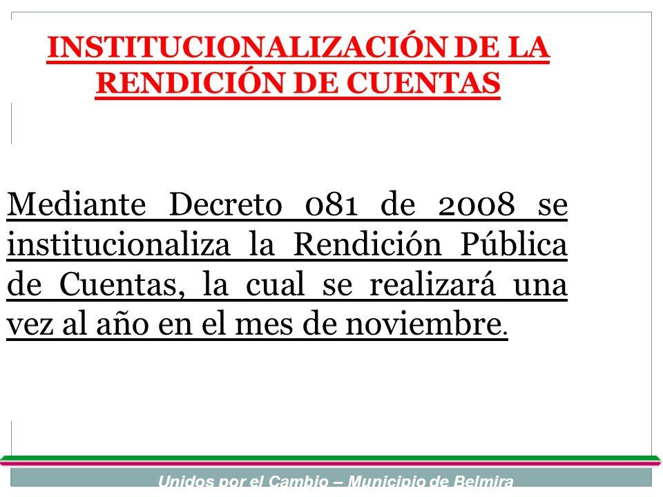 INSTITUCIONALIZACIÓN DE LA RENDICIÓN DE CUENTAS