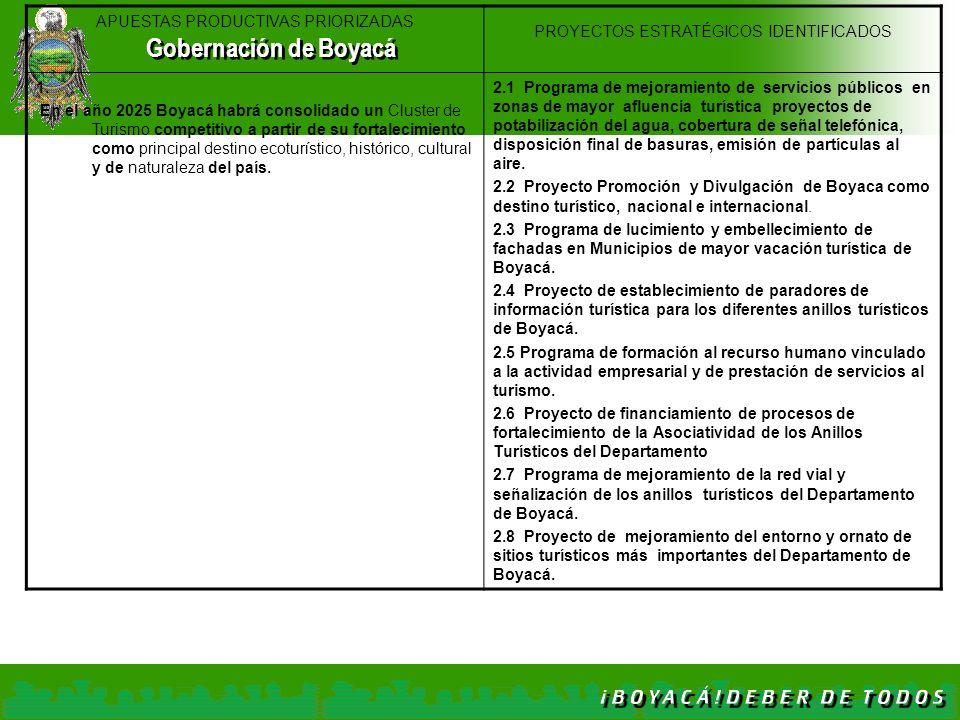 APUESTAS PRODUCTIVAS PRIORIZADAS PROYECTOS ESTRATÉGICOS IDENTIFICADOS