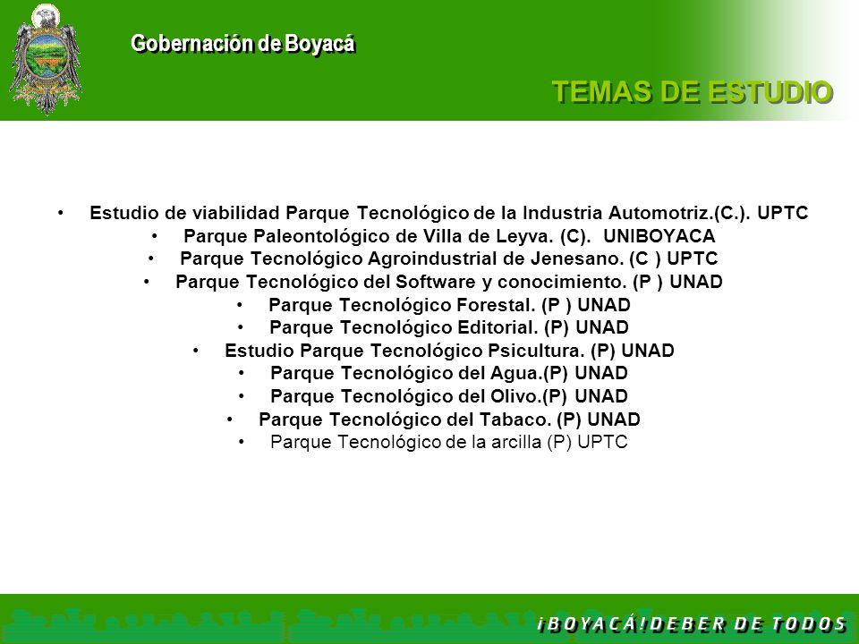 TEMAS DE ESTUDIO Estudio de viabilidad Parque Tecnológico de la Industria Automotriz.(C.). UPTC.
