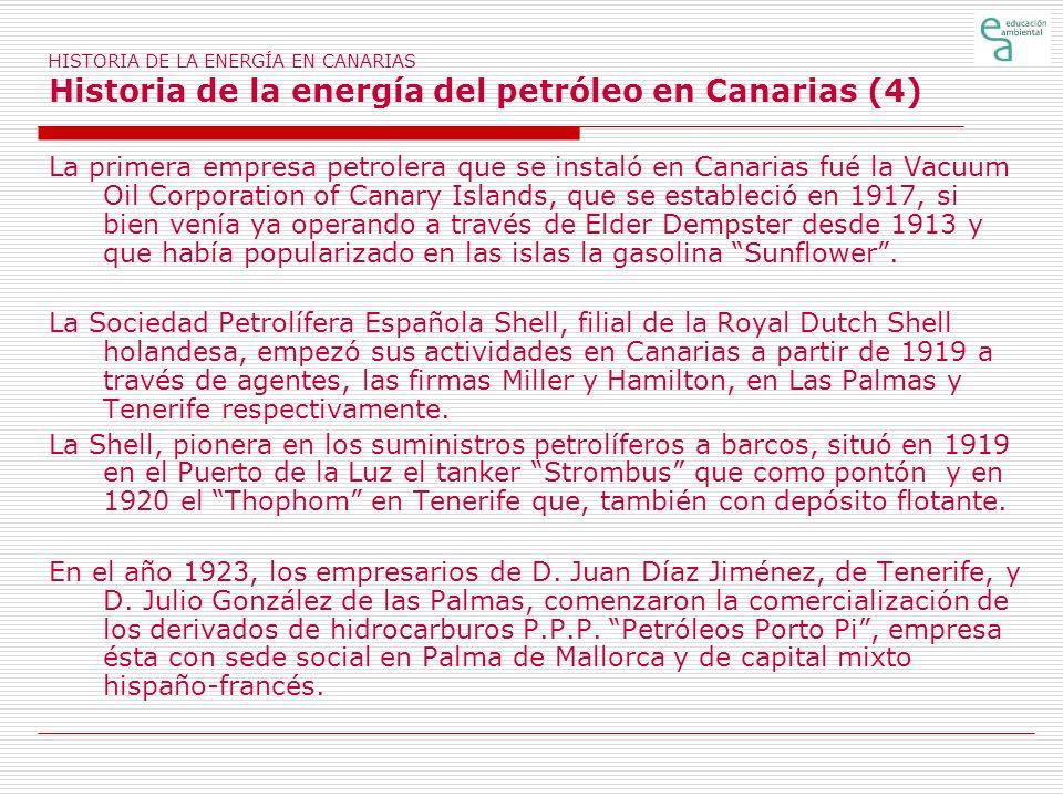HISTORIA DE LA ENERGÍA EN CANARIAS Historia de la energía del petróleo en Canarias (4)