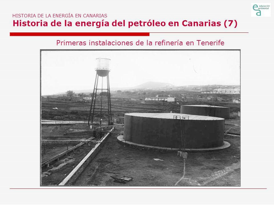 Primeras instalaciones de la refinería en Tenerife