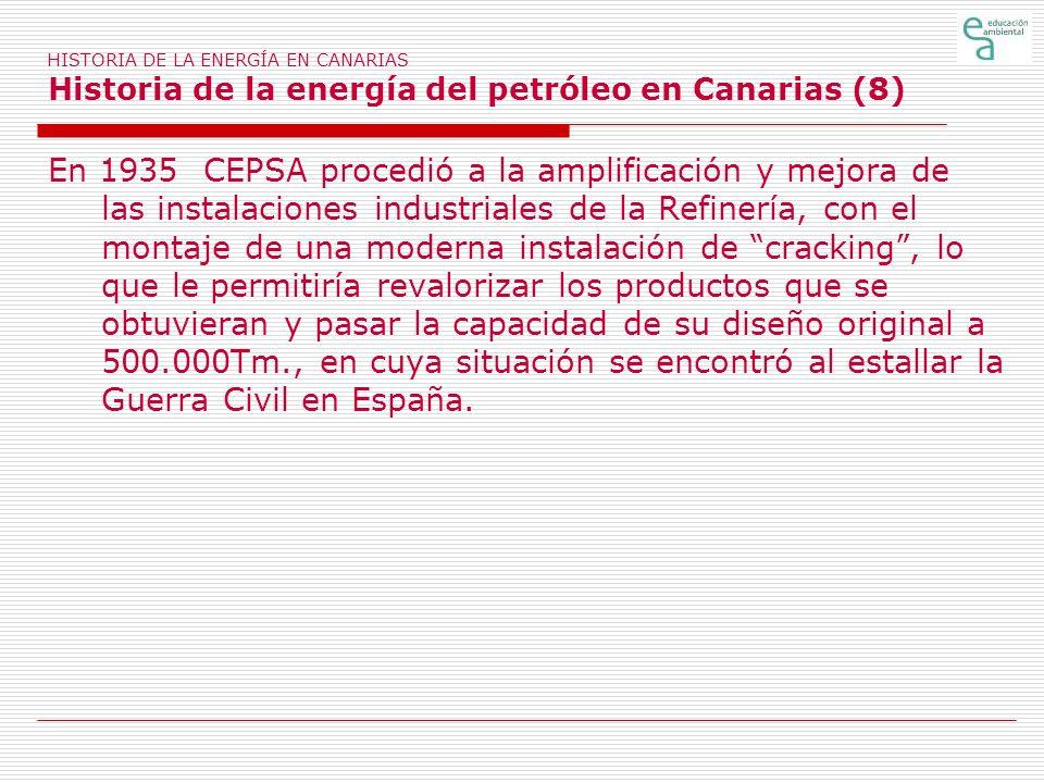 HISTORIA DE LA ENERGÍA EN CANARIAS Historia de la energía del petróleo en Canarias (8)