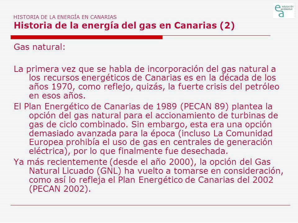 HISTORIA DE LA ENERGÍA EN CANARIAS Historia de la energía del gas en Canarias (2)