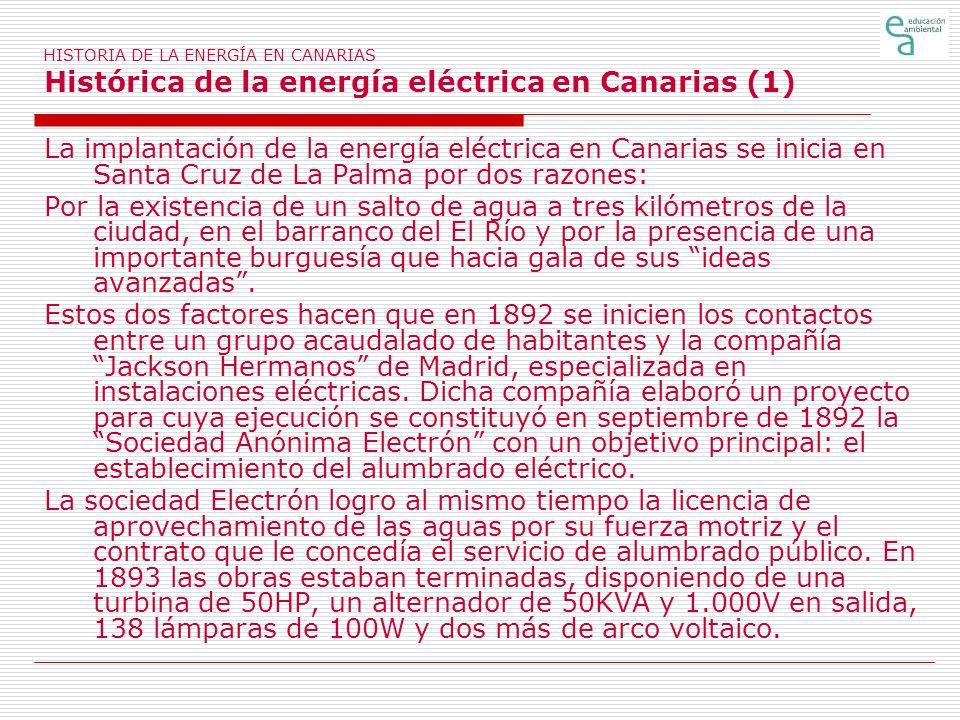 HISTORIA DE LA ENERGÍA EN CANARIAS Histórica de la energía eléctrica en Canarias (1)