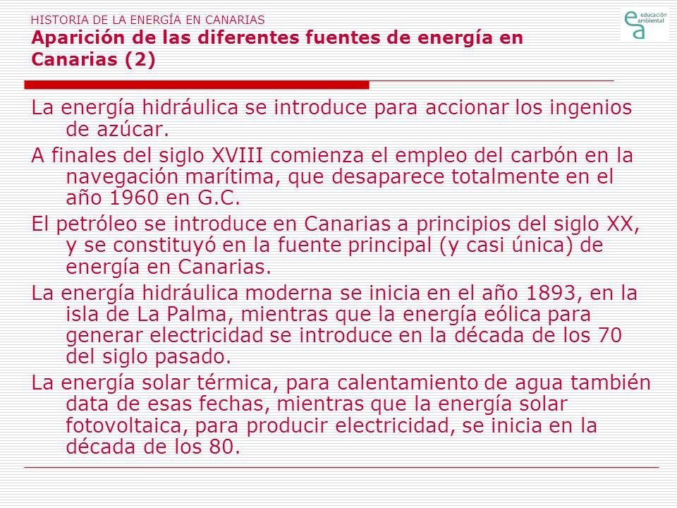 HISTORIA DE LA ENERGÍA EN CANARIAS Aparición de las diferentes fuentes de energía en Canarias (2)