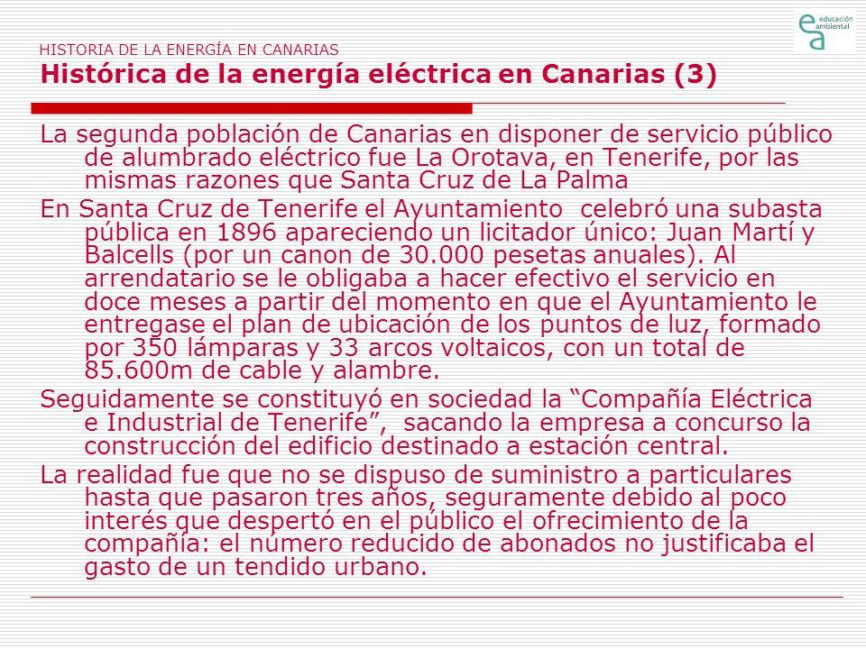 HISTORIA DE LA ENERGÍA EN CANARIAS Histórica de la energía eléctrica en Canarias (3)