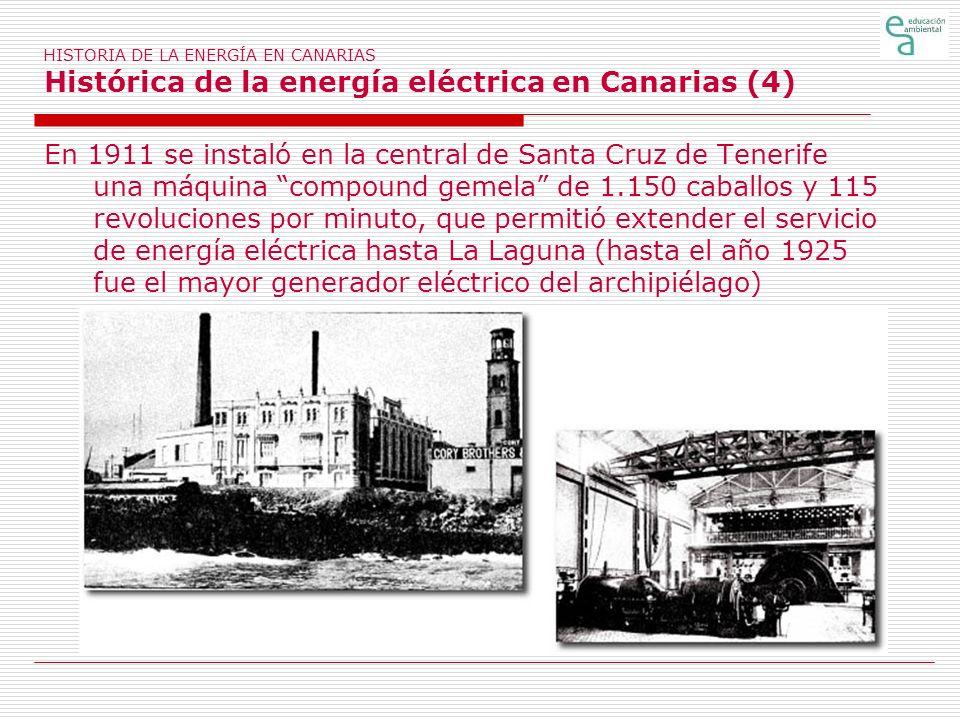 HISTORIA DE LA ENERGÍA EN CANARIAS Histórica de la energía eléctrica en Canarias (4)