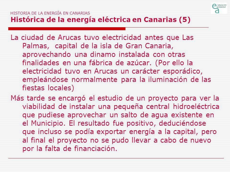 HISTORIA DE LA ENERGÍA EN CANARIAS Histórica de la energía eléctrica en Canarias (5)