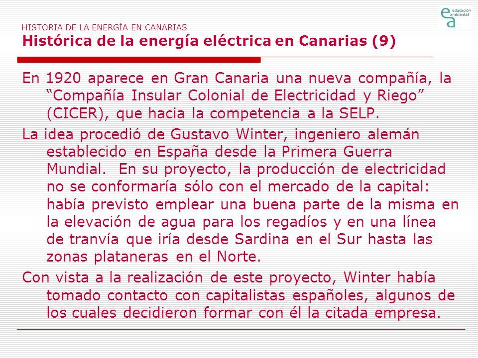 HISTORIA DE LA ENERGÍA EN CANARIAS Histórica de la energía eléctrica en Canarias (9)