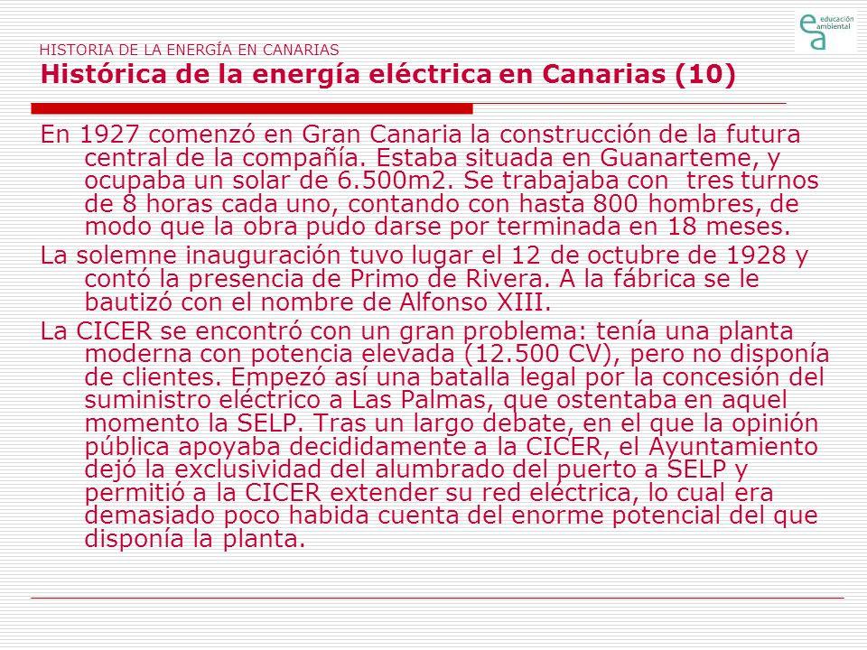 HISTORIA DE LA ENERGÍA EN CANARIAS Histórica de la energía eléctrica en Canarias (10)