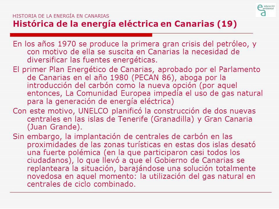 HISTORIA DE LA ENERGÍA EN CANARIAS Histórica de la energía eléctrica en Canarias (19)