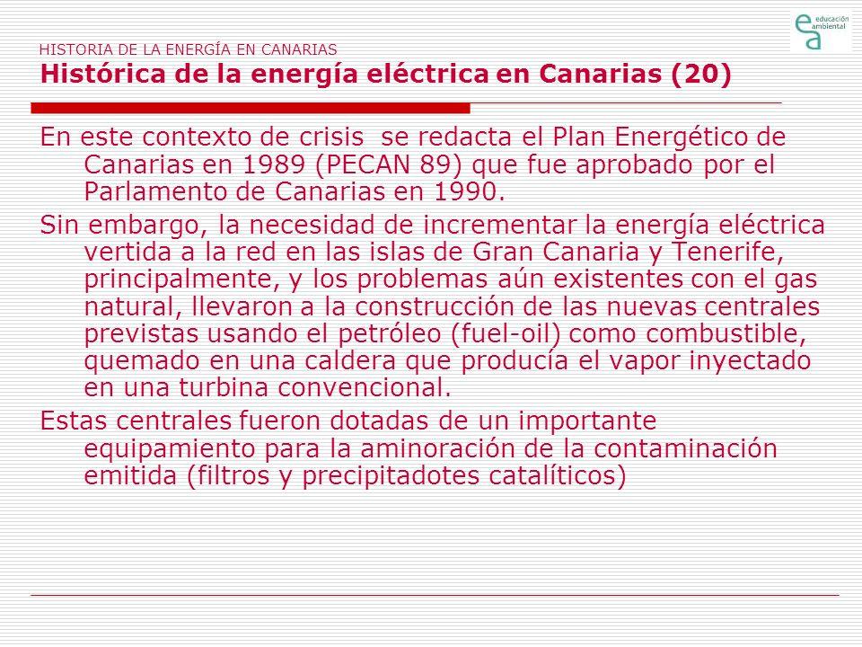 HISTORIA DE LA ENERGÍA EN CANARIAS Histórica de la energía eléctrica en Canarias (20)
