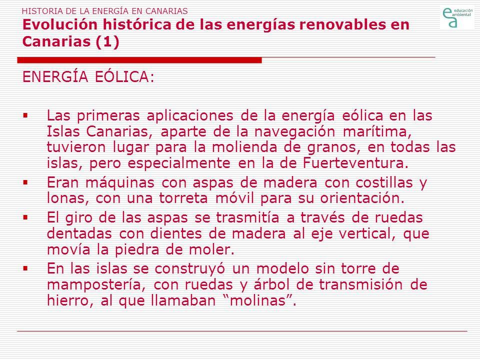 HISTORIA DE LA ENERGÍA EN CANARIAS Evolución histórica de las energías renovables en Canarias (1)