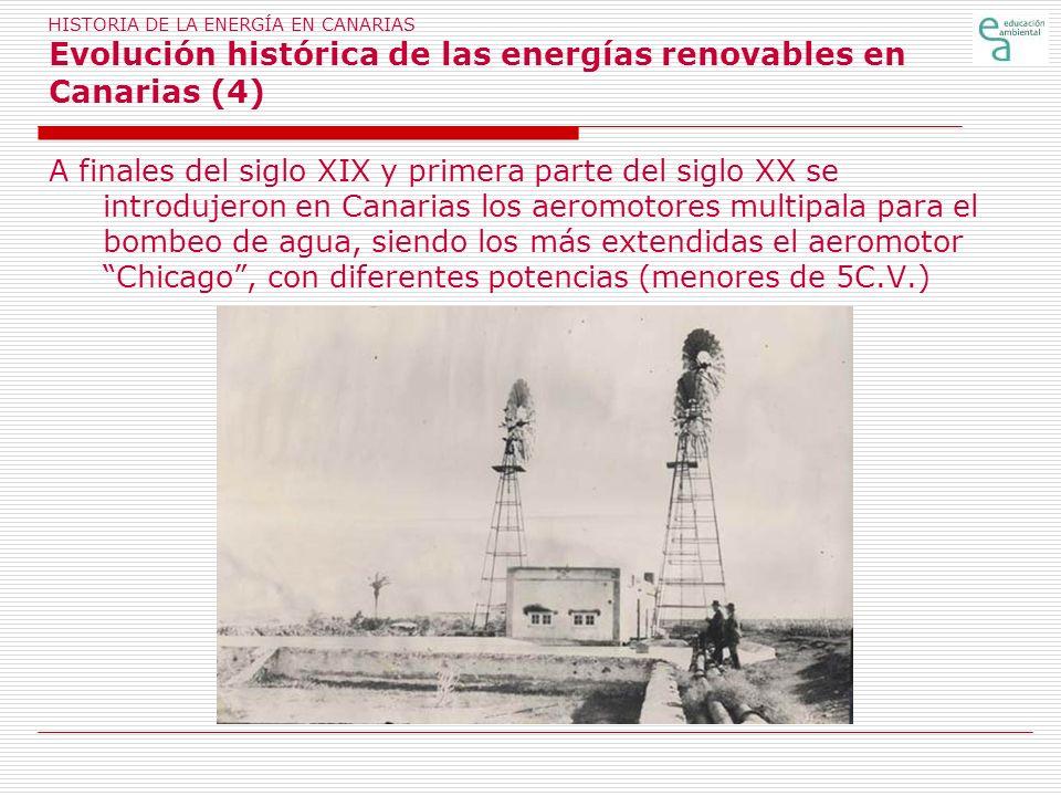 HISTORIA DE LA ENERGÍA EN CANARIAS Evolución histórica de las energías renovables en Canarias (4)