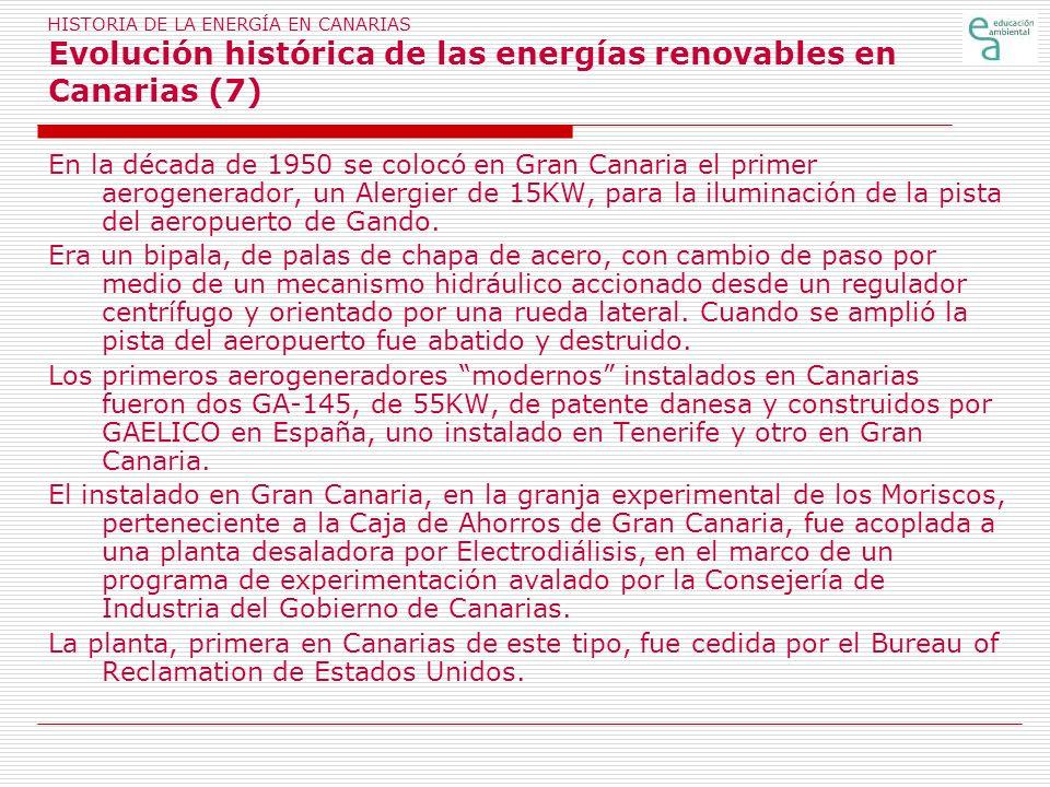 HISTORIA DE LA ENERGÍA EN CANARIAS Evolución histórica de las energías renovables en Canarias (7)