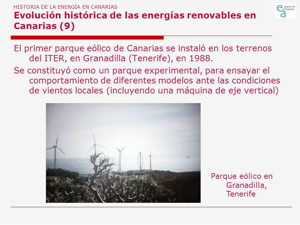 HISTORIA DE LA ENERGÍA EN CANARIAS Evolución histórica de las energías renovables en Canarias (9)