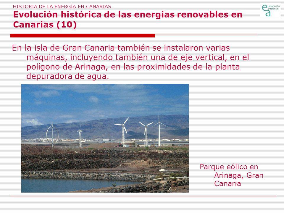 HISTORIA DE LA ENERGÍA EN CANARIAS Evolución histórica de las energías renovables en Canarias (10)