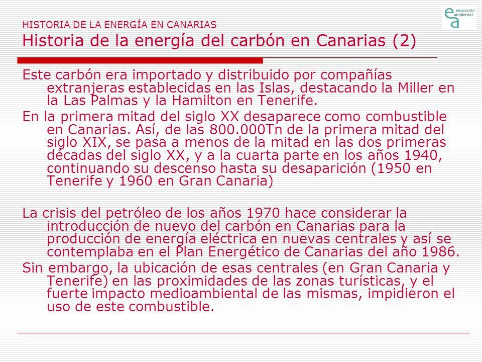 HISTORIA DE LA ENERGÍA EN CANARIAS Historia de la energía del carbón en Canarias (2)