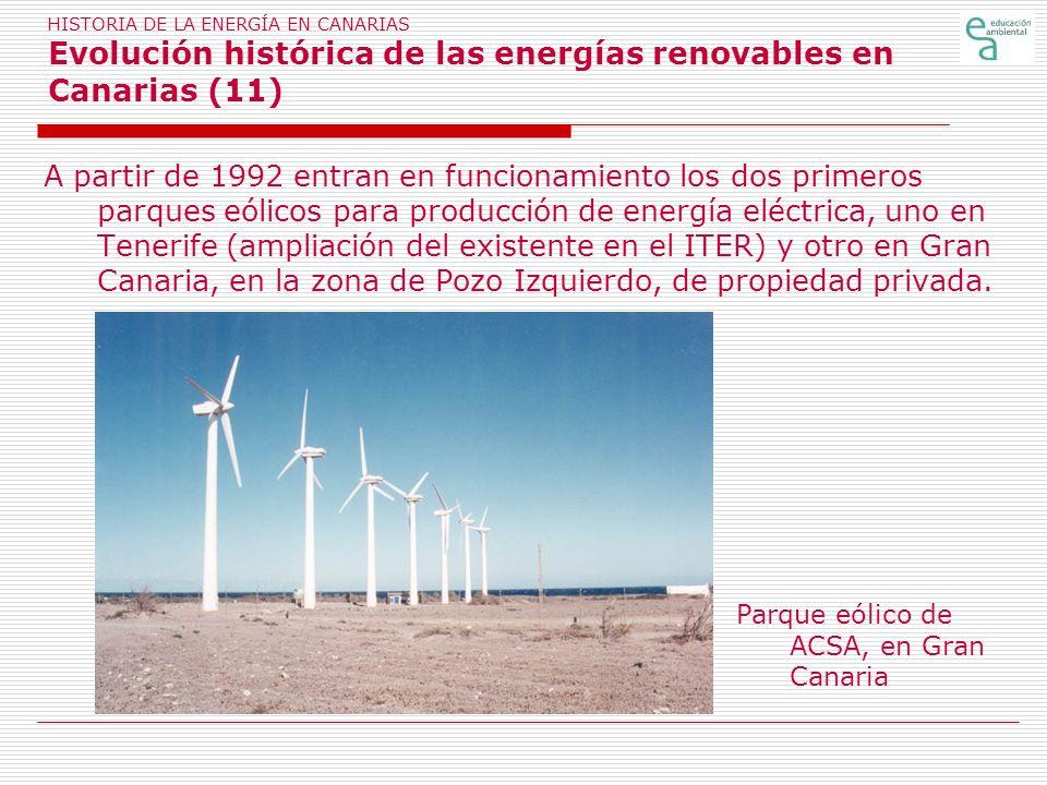HISTORIA DE LA ENERGÍA EN CANARIAS Evolución histórica de las energías renovables en Canarias (11)