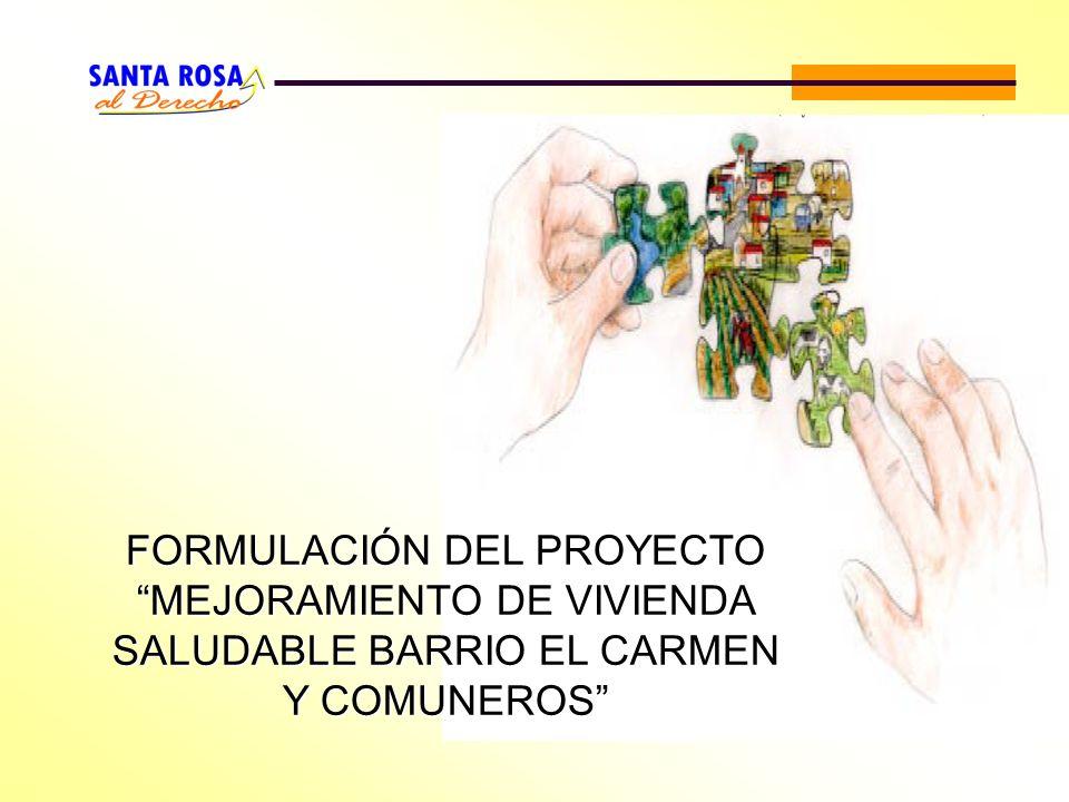 FORMULACIÓN DEL PROYECTO MEJORAMIENTO DE VIVIENDA SALUDABLE BARRIO EL CARMEN Y COMUNEROS
