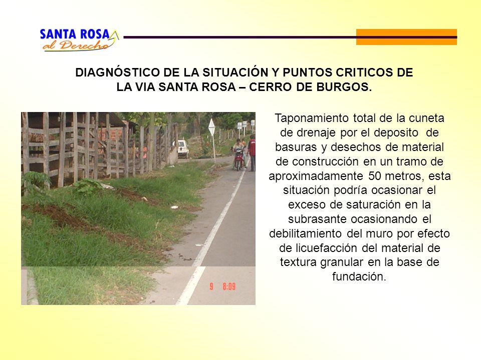DIAGNÓSTICO DE LA SITUACIÓN Y PUNTOS CRITICOS DE LA VIA SANTA ROSA – CERRO DE BURGOS.